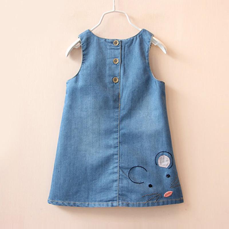 Denim Dress Fashion 2017 Summer Girls Dress Cute Cartoon Baby Girls Clothing Print Children Clothes Jeans Kids Dresses For Girl