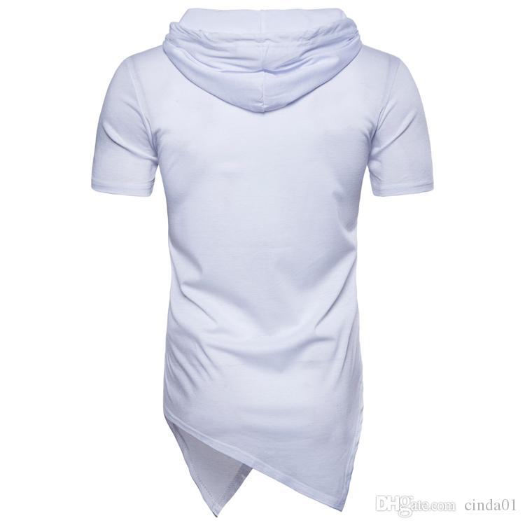 Весна лето мужчины футболка нерегулярный дизайн повседневная рубашка с капюшоном США Eur размер High Street Style Homme Basic Tee