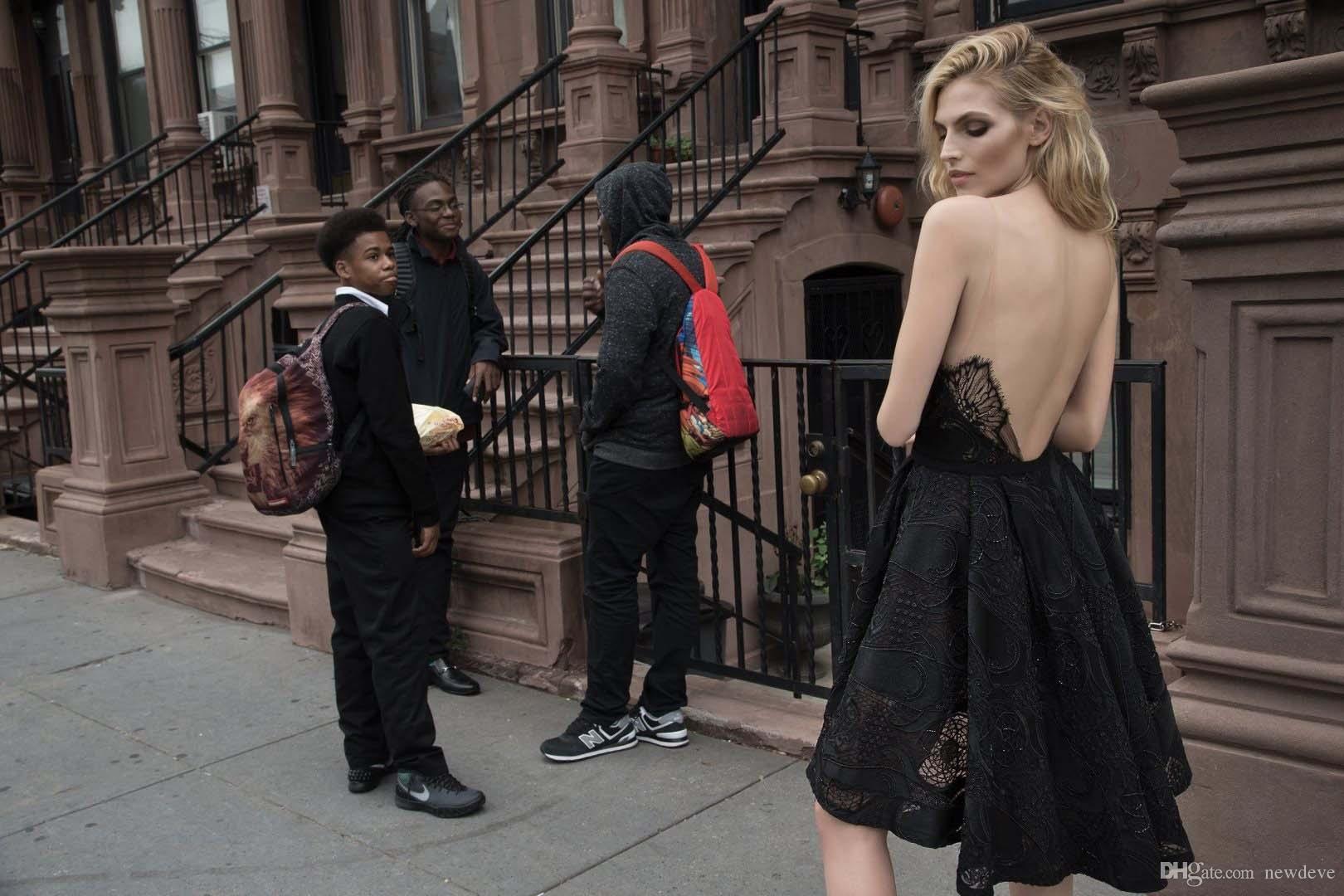 Vestidos de noche negros cortos y altos con cuello en V Inbal Dror Vestidos formales de encaje Vestido de fiesta sexy de talla grande