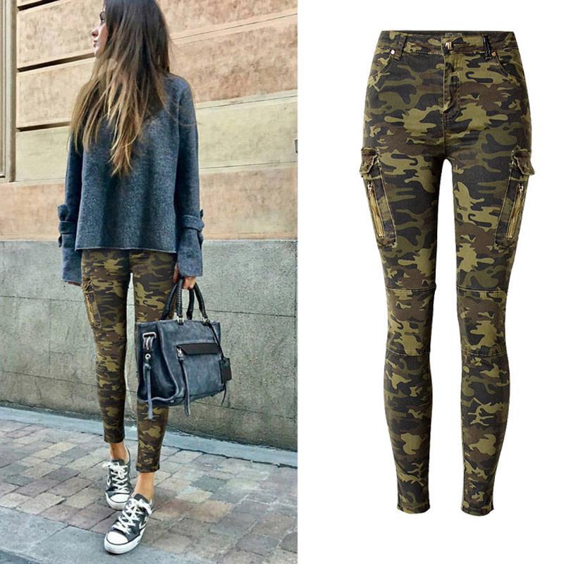 Compre 2018 Camuflaje Jeans Mujeres Estiramiento Bolsillo Lateral Mujeres  Flaco Jeans Lápiz Pantalones De Mezclilla Pantalones Femeninos A  39.32 Del  Masue ... 99ae1dc45ec