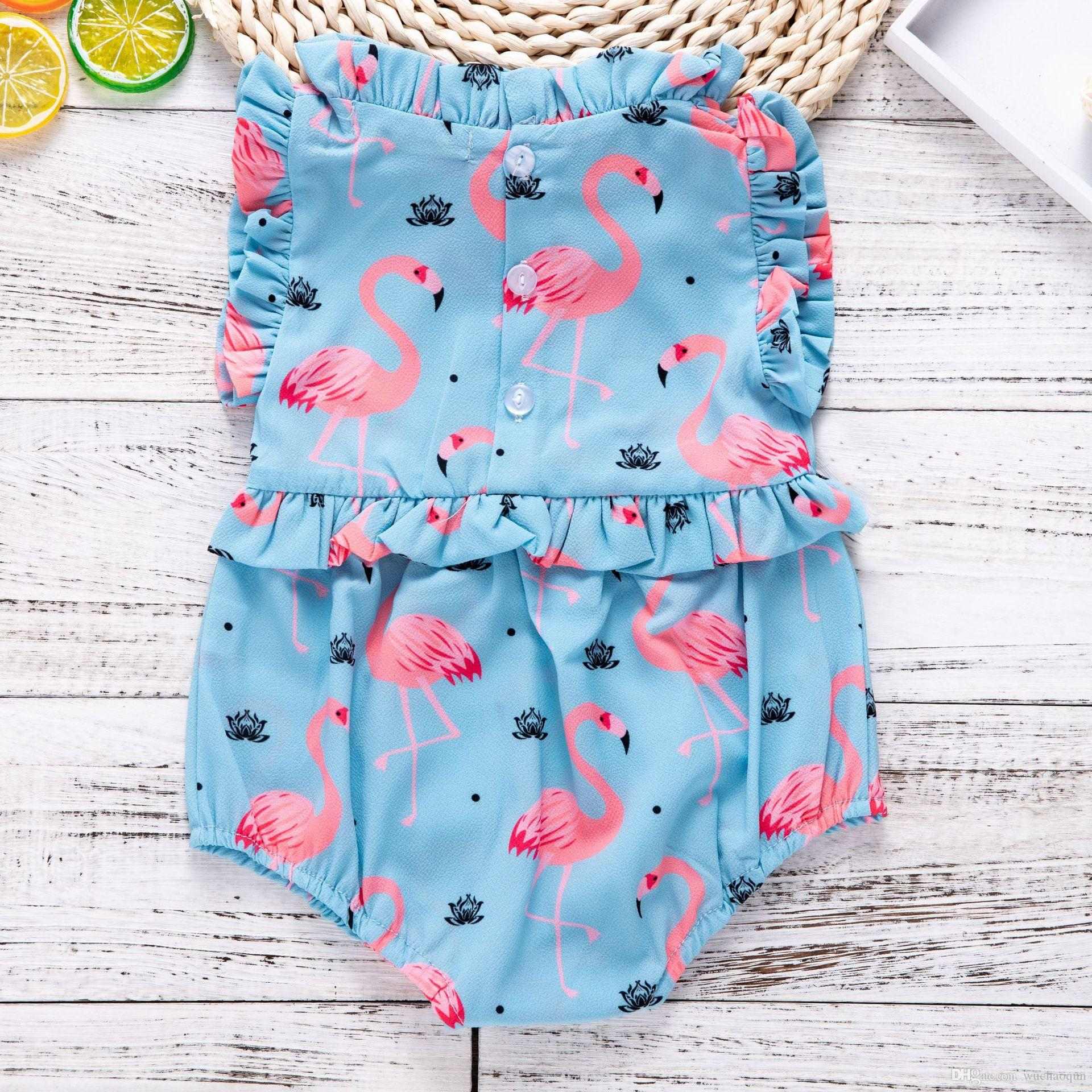 640ab34a7 2019 2018 Baby Girls Flamingo Ruffle Rompers INS Fashion Toddler ...