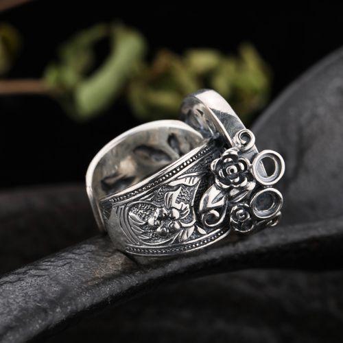 Fine Silver 925 Стерлингового Серебра Ретро Старинные Кольца Semi Mount Кольцо Обручальное Свадьба Изысканные Ювелирные Изделия