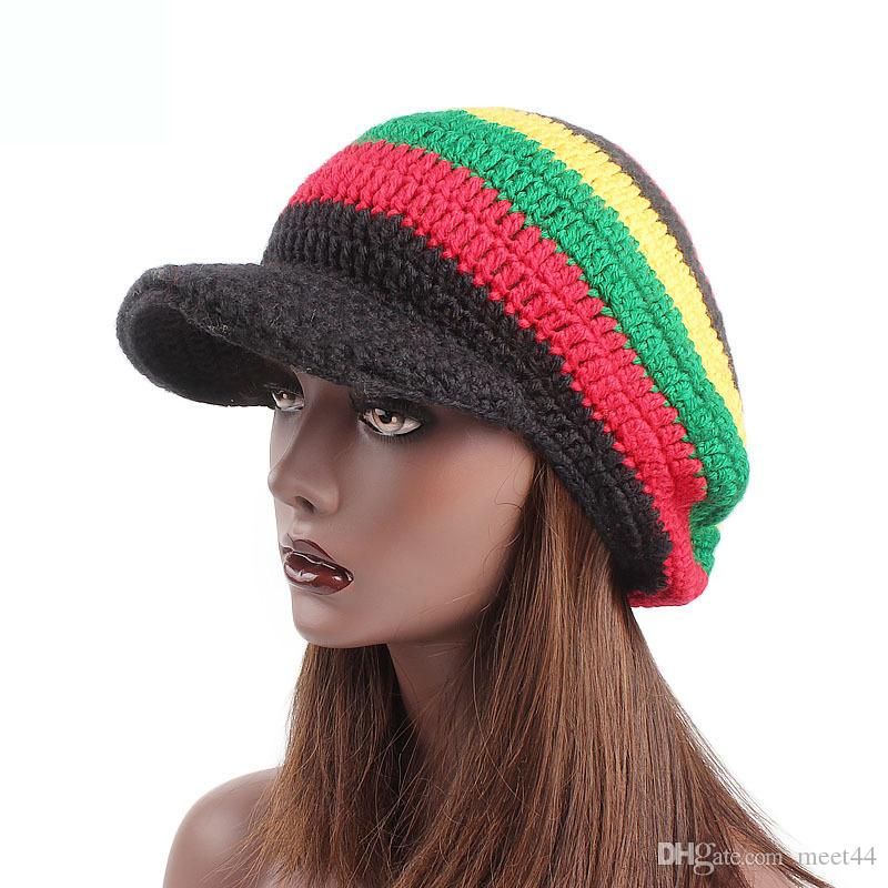 96ed570c6dc44b Latest Acrylic Wool Caps Women's Fashion Hat Color Stripes Jamaican Reggae  Hand-knitted Wool Cap Free Shipping