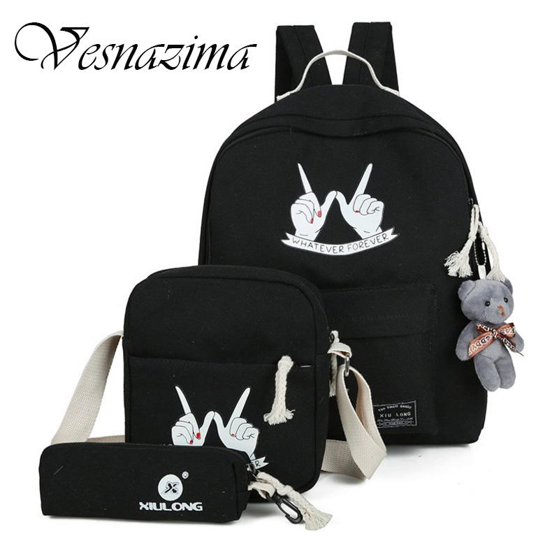 d390124287d9 Vz Teenager Backpack Girls High Class Schoolbag Printing Causal Backpacks  Set Bags Machila Book Bags Bear Crossbody Bag Wm531lh School Backpacks Cool  ...