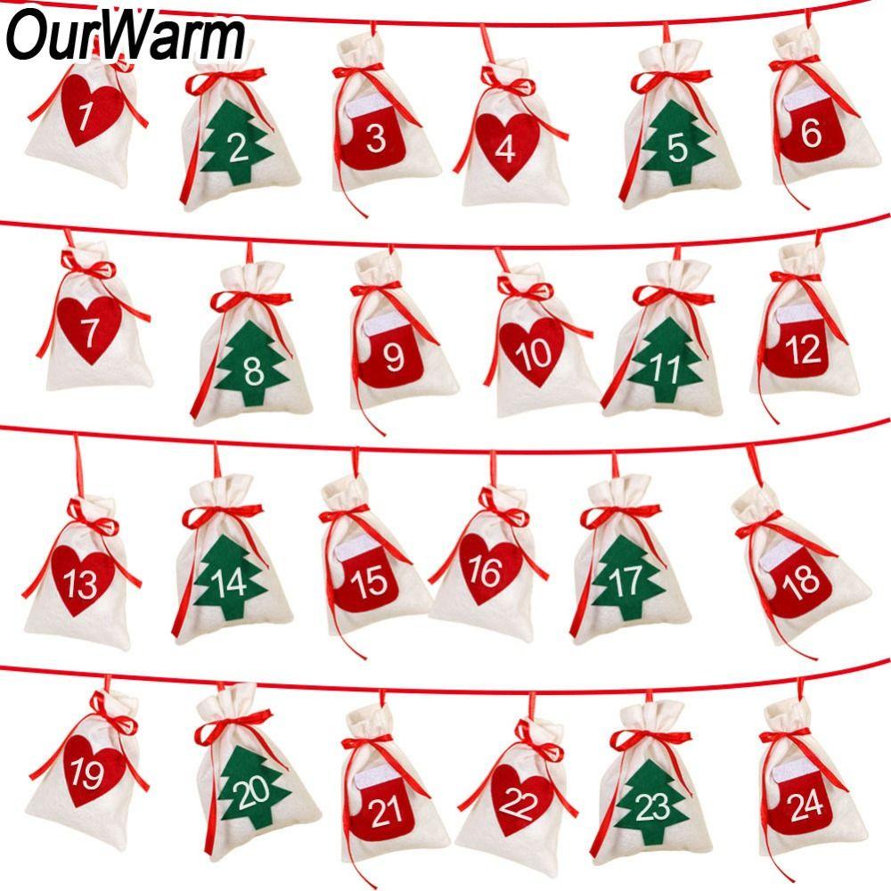 Weihnachten Datum.Großhandel Datum 1 24 Weihnachten Adventskalender Diy Filz Geschenkbeutel Countdown Kalender Girlande Frohe Weihnachten Neujahr Dekoration