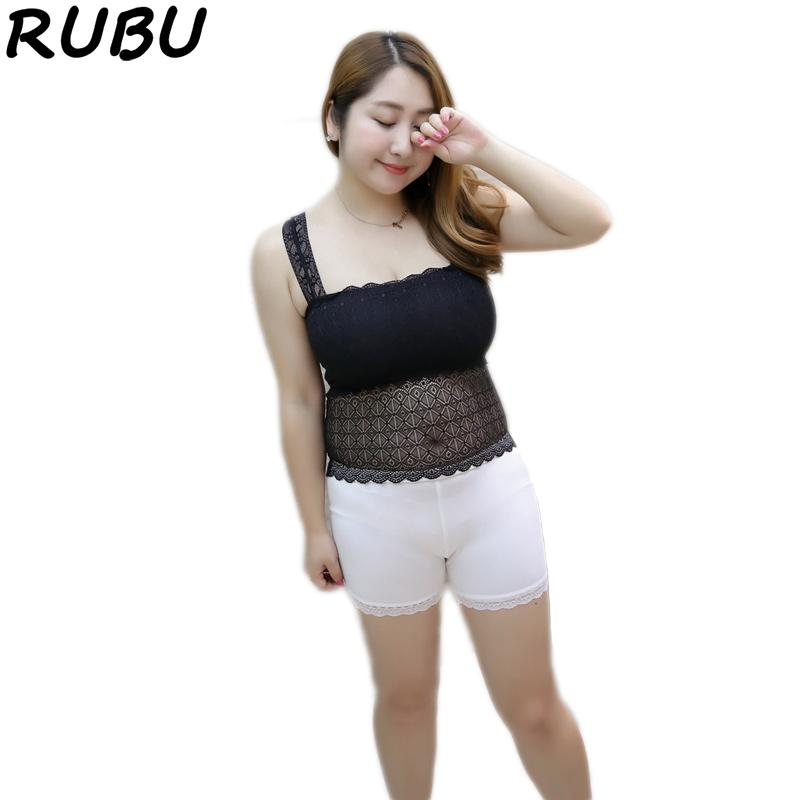 a4560fecc5c 2019 Women Lace Camisole Fat MM Girl Anti Light Cropped Long Tank Top Black  White Tube Tops Plus Sleeveless Vest Size XXXL 8AJQ205 From Berniee