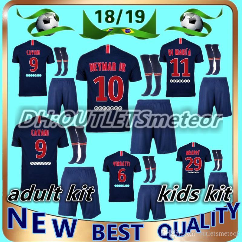 5ea26623101 2018 2019 Paris Adult Kids Kit Soccer Jerseys 18 19 Neymar Jr Mbappe ...