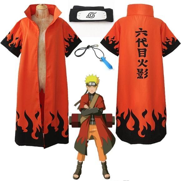 Cosplay Anime Naruto Uzumaki 6th Hokage Halloween Costume Overcoat Cloak Headband Necklace Dress Up Its Asian Size Smaller Than US EU Children
