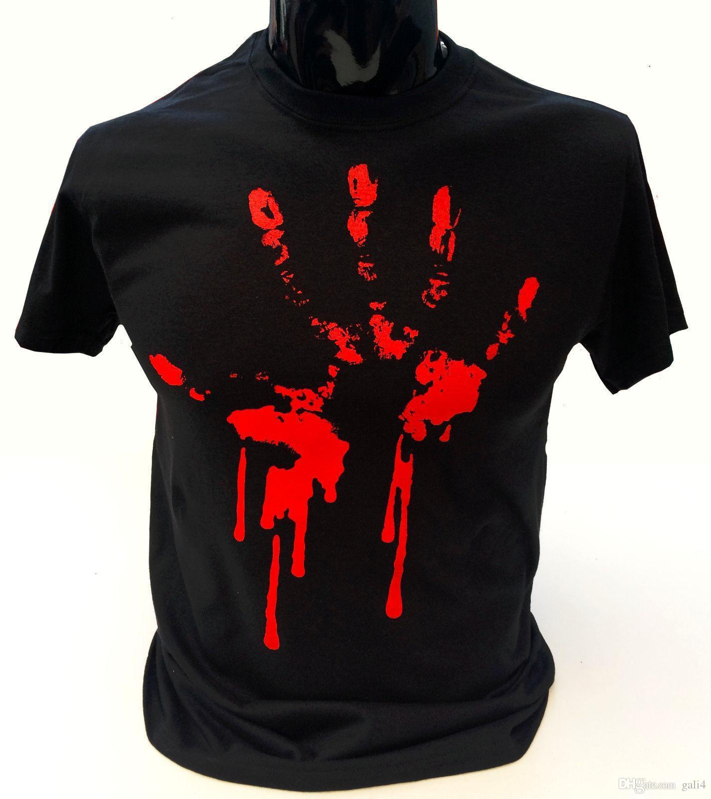 30cd45be14550 Bloody Mano Camiseta Estampada Hombre S 2xl GÓTICO ROCK Zombie Punk  Halloween Awesome Tee Shirt Funny T Shirts Prints From Gali4