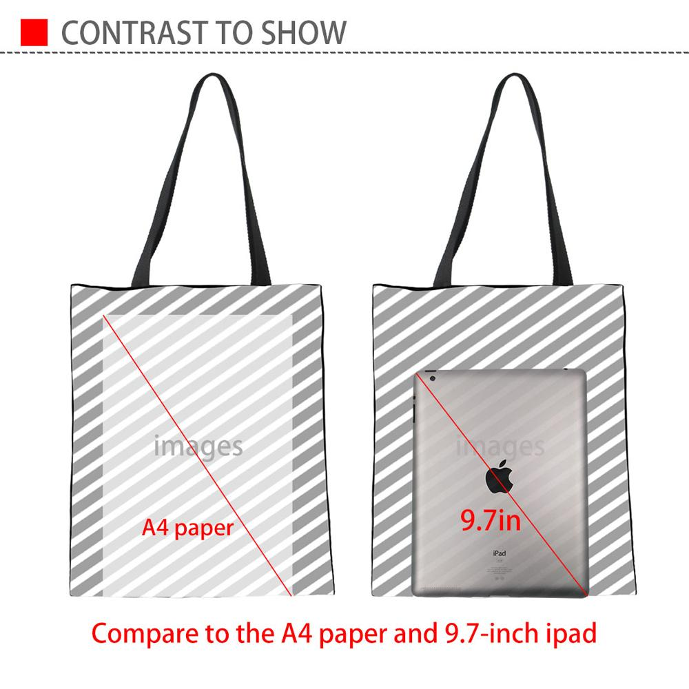 INSTANTARTS Casual Women Shopping Tote Bags in lino Cute 3D French Bulldog Stampa Teen Girls Bookbags Studenti Recyling Eco Bags