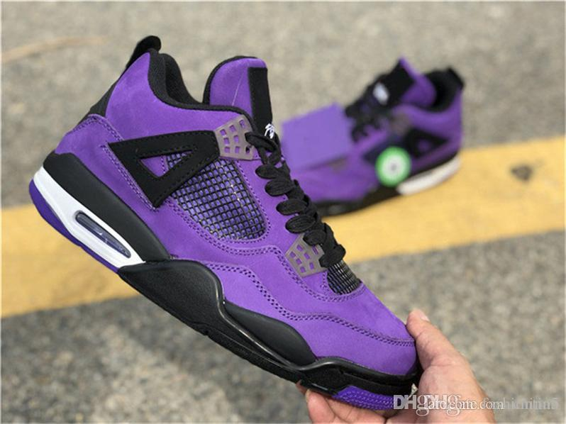 48f1fbd602a8 2019 2018 Hot Release Authentic Travis Scott X 4S IV Cactus Jack Basketball  Shoes For Men Purple Suede Sports Sneakers With Box 308497 510 From  Fashiontina