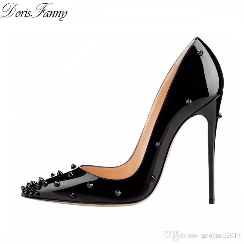 sexy girls NEWEST Patent leather studded spikes sheels 12cm ladies sexy pointed toe rivets spiked high heeled shoes black womens pumps