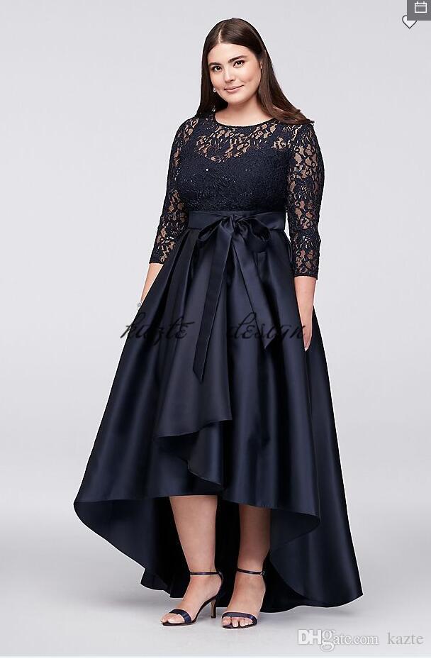 Lacivert Dantel Korse Artı Boyutu Yüksek Düşük Balo anne Gelin Damat Elbiseler 2018 Mütevazı Yarım Kollu Durum Balo Elbise