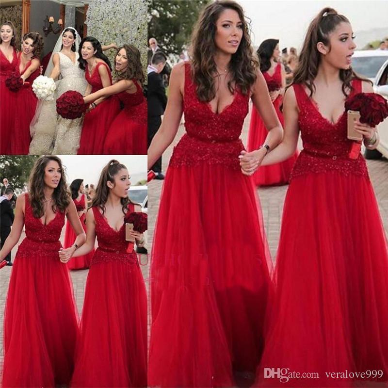 54af2842a6 Compre Cheap V Neck Abalorios Apliques Rojos Vestidos De Dama De Honor Largo  De La Dama De Honor Vestidos Largos Prom Party Wear A  110.56 Del  Veralove999 ...