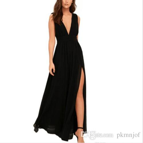 fa6240d368d9 Vestidos de noche de color sólido, sin mangas, a la moda, a la moda, sin  mangas, con cuello en V largo y color sólido Nuevo
