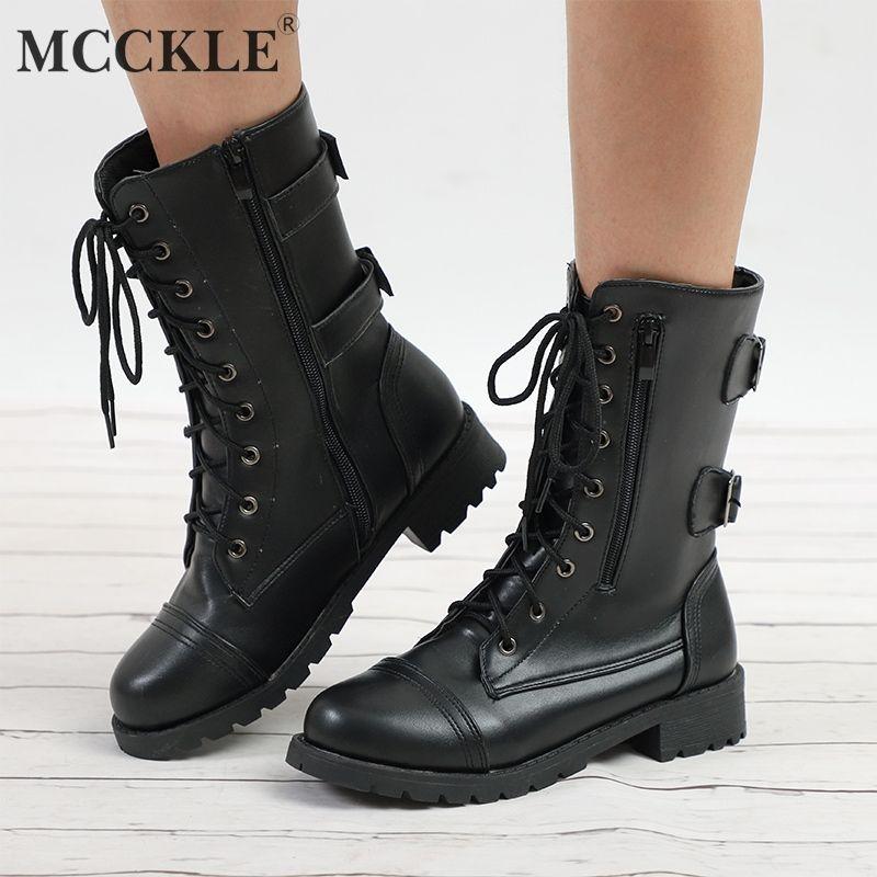 ccaf2cc22fbce MCCKLE Women Autumn Platform Motorcycle Boots Plus Size Female Lace Up Mid  Calf Boots Buckle Strap Zipper Ladies Low Heel Shoes Pumps Shoes Shoe Boots  From ...