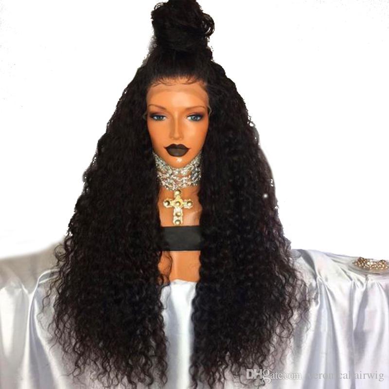 I più venduti parrucche ricci crespi marrone scuro con i capelli del bambino 180% densità densità completa parrucche sintetiche del merletto anteriore le donne spedizione gratuita