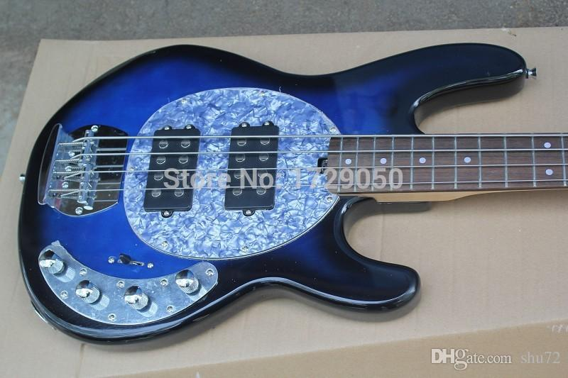 china factory custom Top Quality New Vintage Blue 4 Strings with 9V Battery Active Pickup Electric bass Guitar 51
