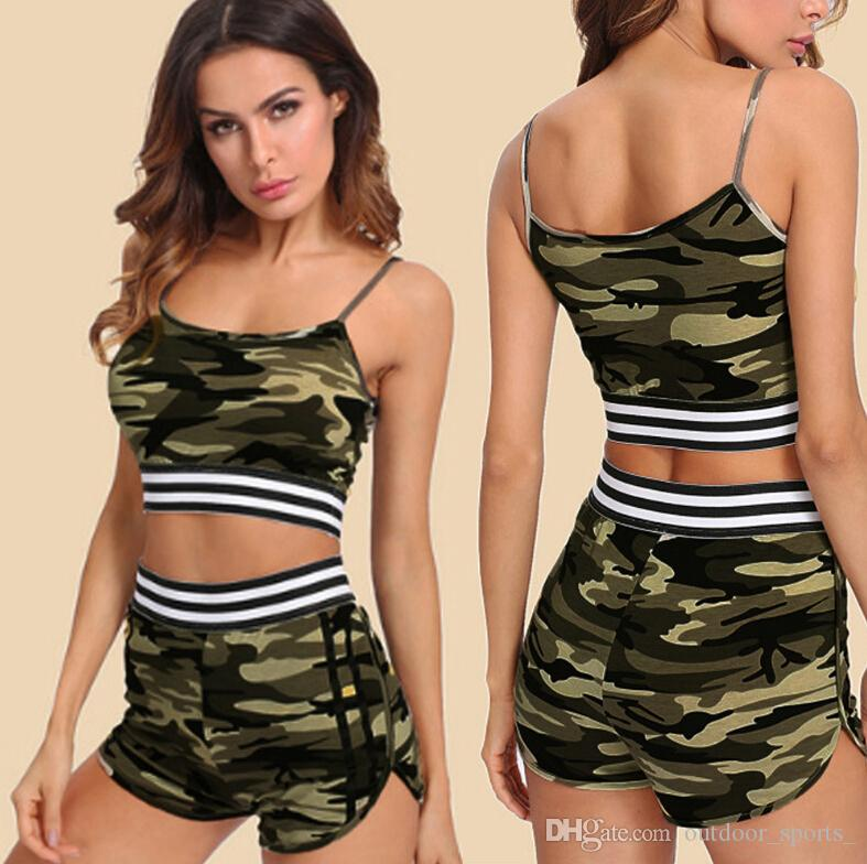 8ca2a6c5f4359 Outdoor Apparel Exercise Fitness Wear Yoga Outfits Explosion models women's  fashion camouflage print casual running yoga sports suit