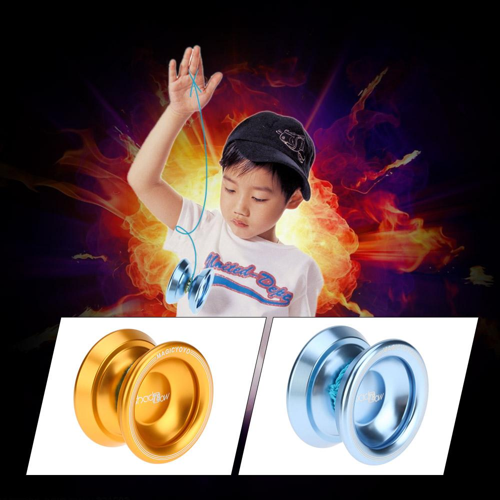 2018 Professional Magic Yoyo T8 Aluminum Alloy Metal Yoyo 8 Ball KK Bearing with String for Kids Classic Toys 2 Colors Optioanl