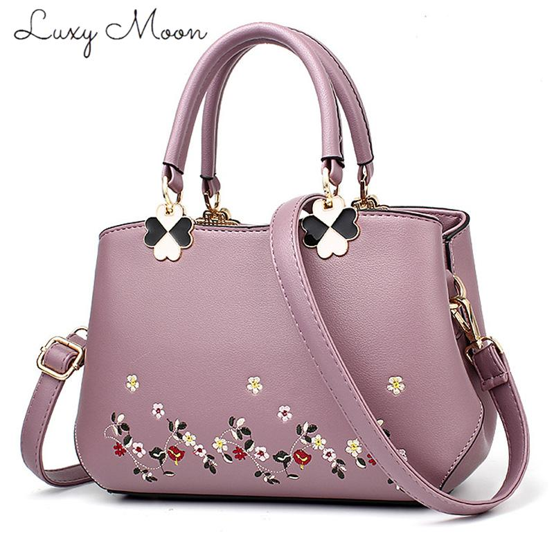 ce9a3e0fc72359 Luxy Moon Chinese Style Embroidery Floral Handbags Ladies Top Handle Bag PU  Leather Small Bags For Women 2018 Sac A Main Femme Purses On Sale Men Bags  From ...