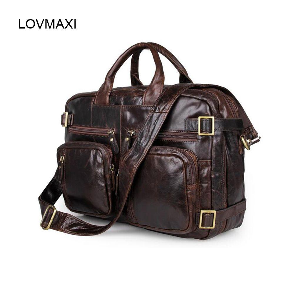 97a0e2c482 LOVMAXI Large Man Laptop Bag Men S Briefcases Genuine Leather Handbags Oil Leather  Male Messenger Bag Multi Function Travel Bags Travel Purse Branded ...