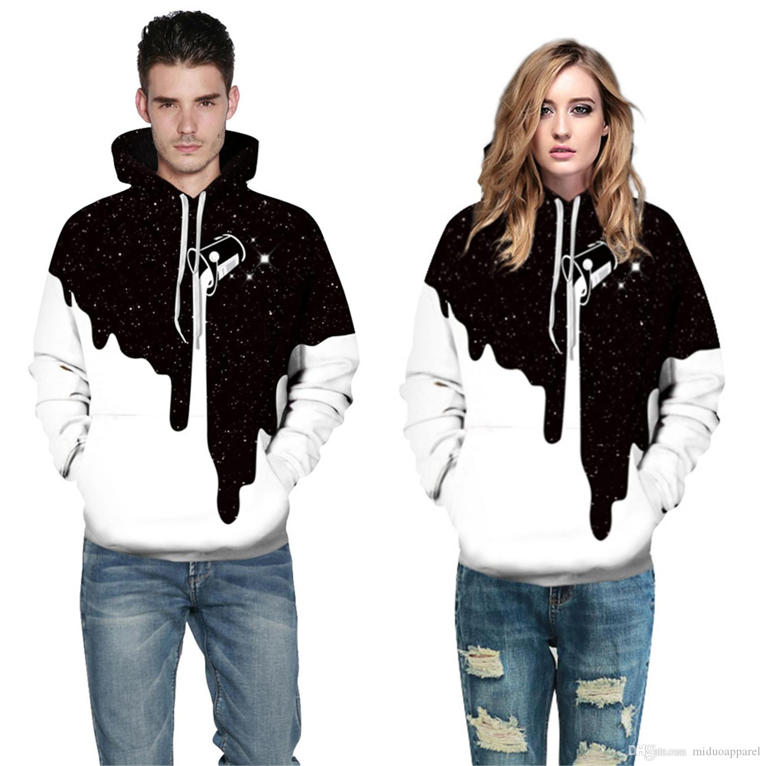 b14f98f55bae Unisex 3D Fashion Milk Black White Hoodie Polyester Men And Women ...