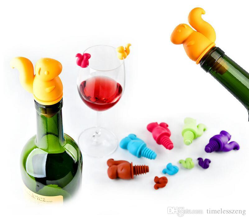 Silicone wine stopper suit squirrel shape wine bottle stopper wine glass marker label cup recognizer for party wedding bar tools with box
