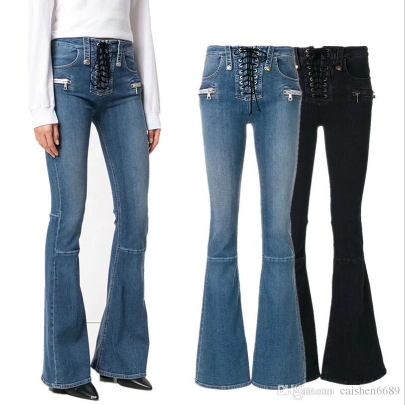 f7432229f Compre Calças De Cowboy De Alta Qualidade 2018 Primavera New Denim Flare  Calças Das Mulheres Moda Era Fino Cintura Alta Corda Amarrada Calças Jeans  Das ...