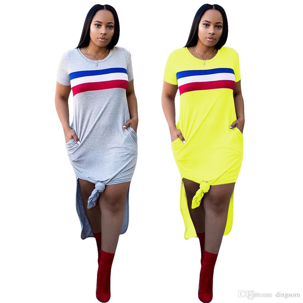 super popular c1b20 5b398 Vestiti lunghi estivi donna Abiti giallo chiaro patchwork Abiti leggeri  maniche corte in misto cotone