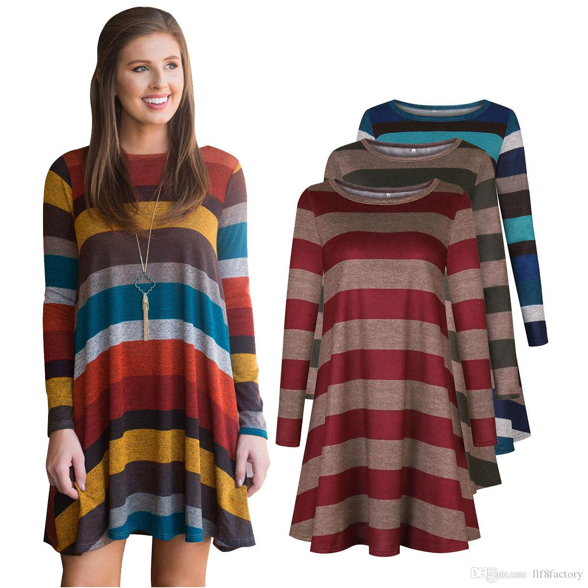 56ad9b078be New Casual Women S Autumn Classic Striped Design Long Sleeved Simple T Shirt  European And American Loose Wild Dress For All Occasions Casual White  Summer ...