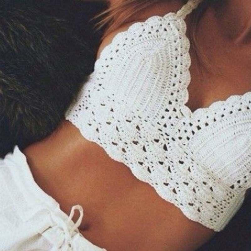 Women Crop tops Bralette Bikini Halter Bra Sexy Fashion Beach vest cotton knitting Floral Swimsuit Yoga Crop Top