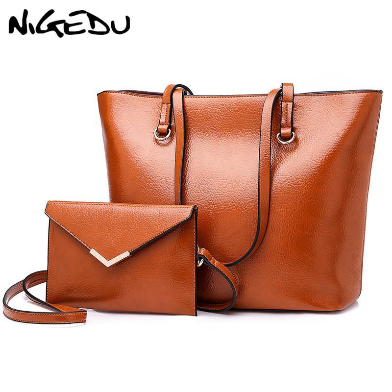 7a21a7f7042 wholesale Large Capacity Women handbag Fashion PU Leather Shoulder Bag  Casual Big Tote Bag Designer Female Composite Bag Purse