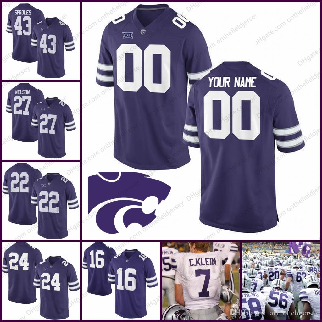 a559fa0ec76 2019 Custom Kansas State Wildcats College Football Jerseys Any Name Number  #27 Jordy Nelson 43 Darren Sproles Purple White Mens Kids Womens S 3XL From  ...