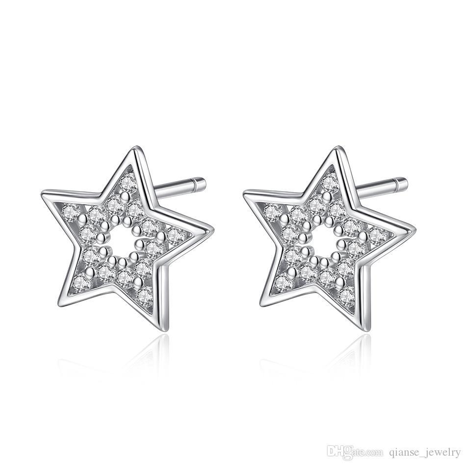 4ecb34cc42c1 Compre Genuino 925 Estrellas De Plata Pendientes Stud Pendientes Cubic  Zirconia Pentagrama Pendientes Para Las Mujeres Joyería De DIY Regalo De  Compromiso A ...
