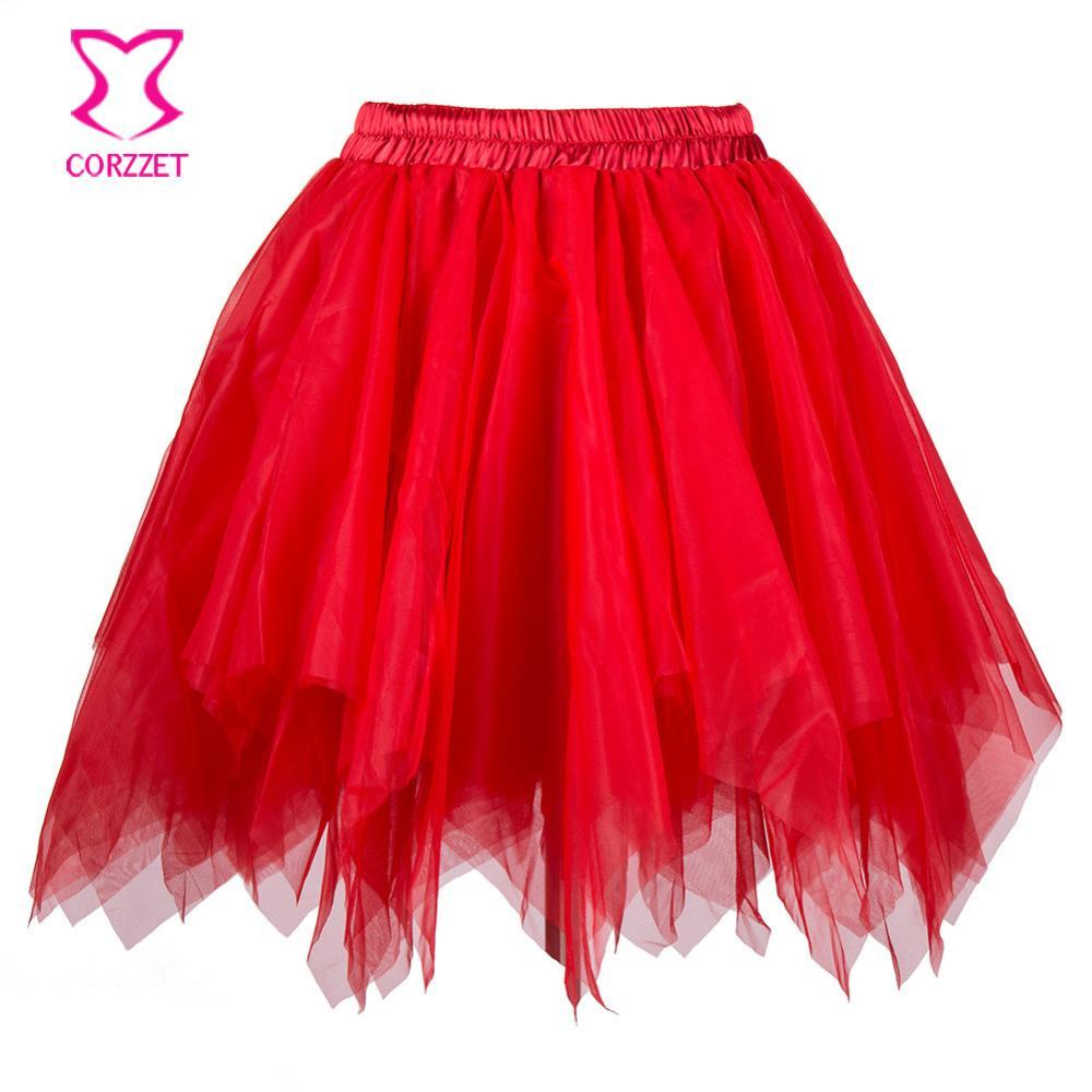 edd66f26c Compre Falda De Tul En Capas De Tul Rojo Falda De Mujer Burlesque Disfraces  Enagua Faldas De Tutú Sexy Falda De Mujer Gótica Corset Falda A  25.61 Del  ...