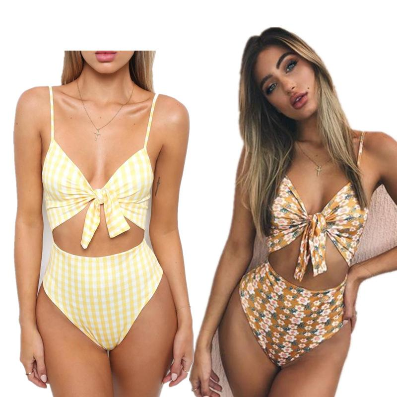 d378bfb4a8 2019 Sexy Cut Out One Piece Swimsuit Bowknot Brazilian Monokini High Waist  Swimsuit High Cut Bathing Suit Push Up Biquini Bodysuit From Swimwear2016,  ...