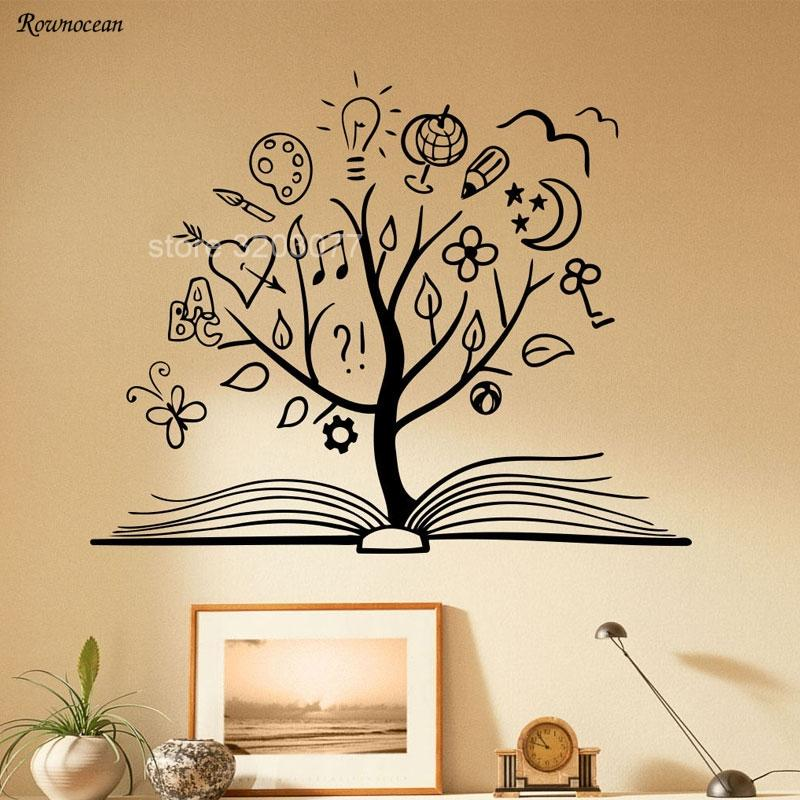 Book Tree Wall Decal Library School Vinyl Sticker Unique Home Art Decor  Reading Room Decoration Removable Murals Kids Rooms SK13 Dinosaur Wall  Decals ...
