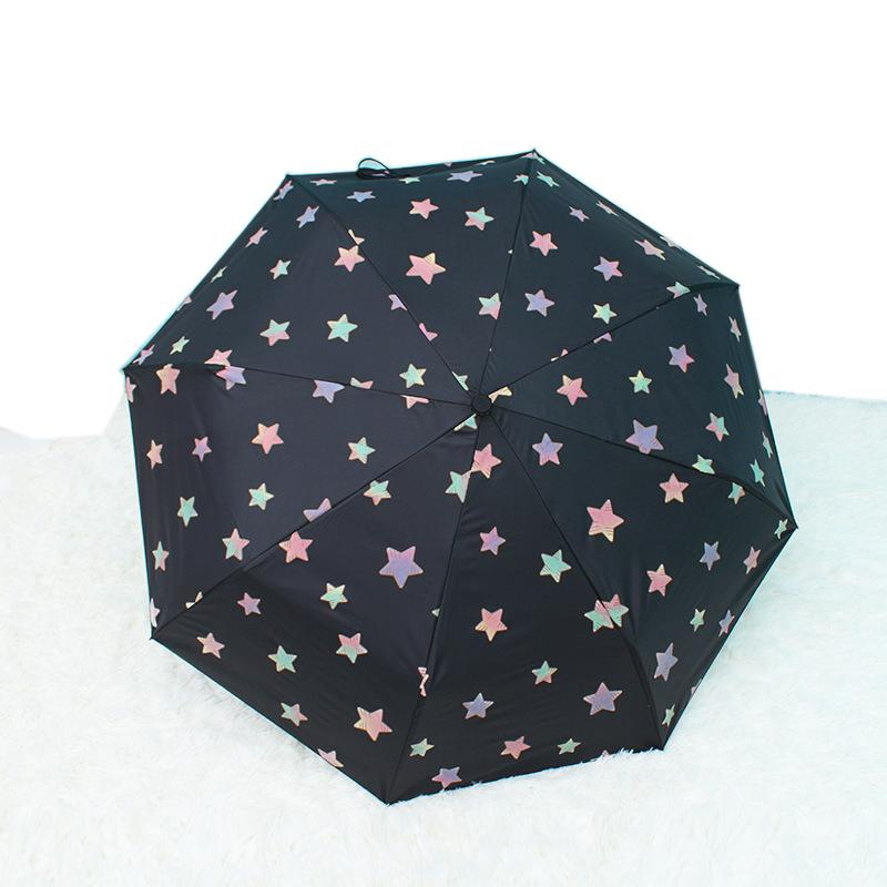 Creative Star Three Folding UV-Protection Rain Travel Umbrellas Magic Changing Color After Water Woman's Umbrella for Man
