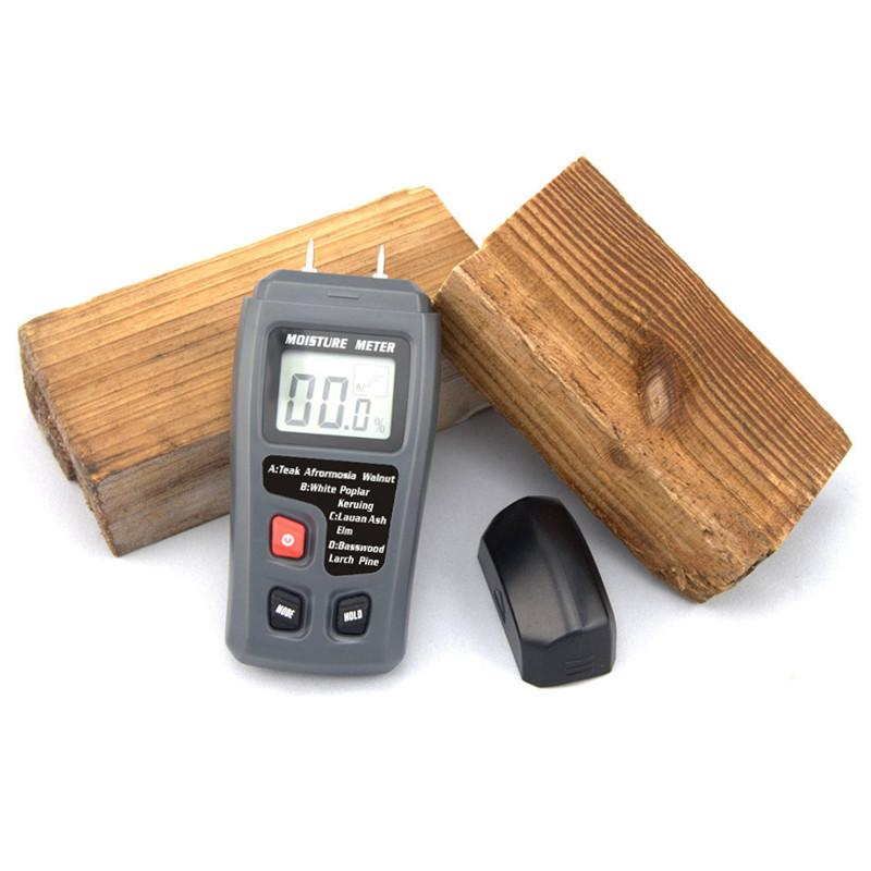 Feuchtigkeit Meter Digital Holz Feuchtigkeit Meter 0-99% Holz Feuchtigkeit Tester Zwei Pins Holz Damp Detector Tester Sensor Mit Großen Lcd Display