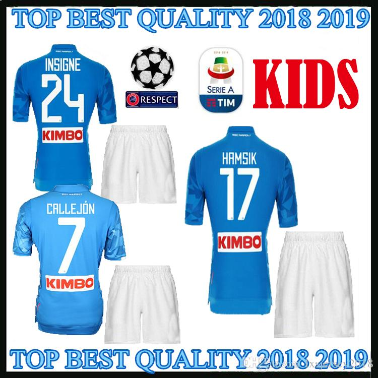 0301e9b6c 2019 Napoli 2018 Kids Soccer Jerseys Home Kit 2019 ZIELINSKI HAMSIK INSIGNE  MERTENS CALLEJON PLAYER VERD Naples 18 19 Children Football Shirt From ...