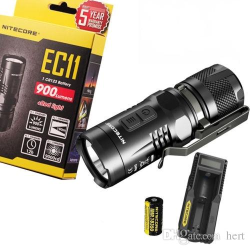 Nitecore EC11 Mini portable Led Flashlight Cree 900 Lumens XM-L2 U2 LED White and Red with 18350 Battery with UM10 charger Torch light