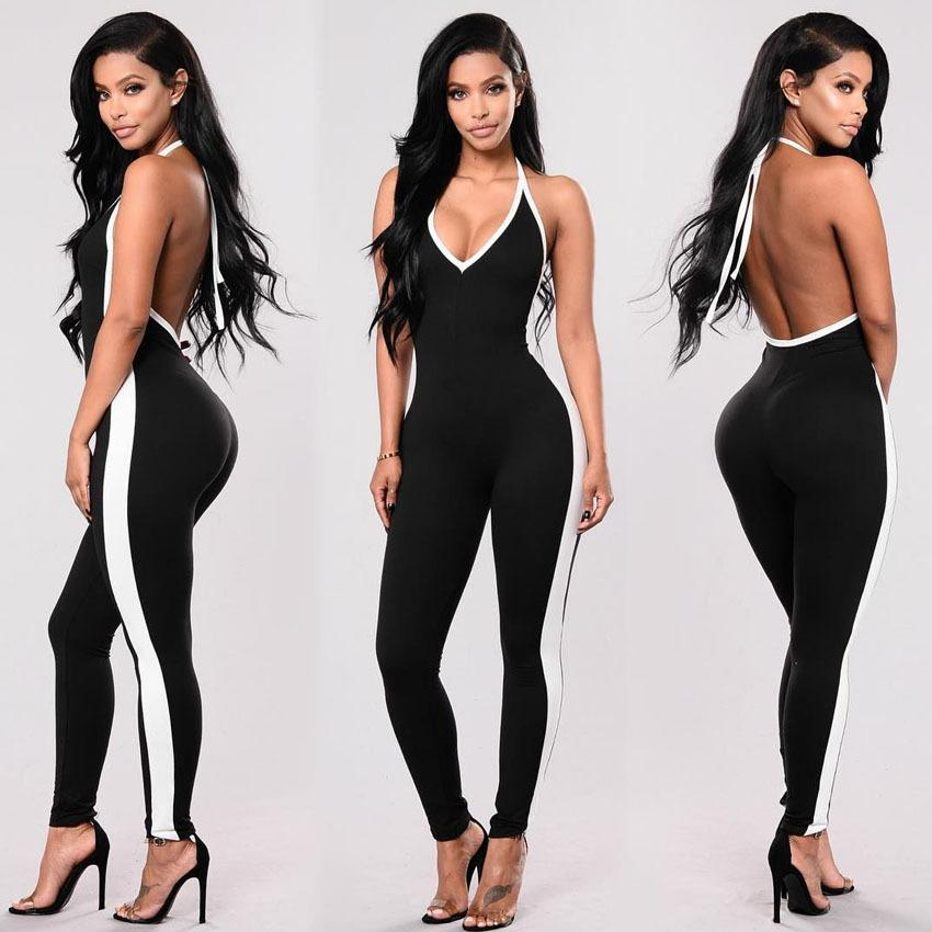 e5d58cc4eb9c 2019 Fitness Jumpsuit For Women Open Back V Neck Skinny Stripes Halter  Bodysuit Overall Female Workout Clothes Romper Playsuit 72400 From Easme