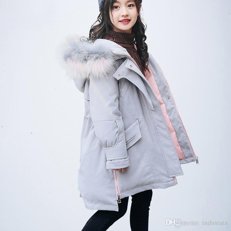 3bb67c84e Girl Winter Coat Parka Long Down Puffer Hooded Fur Collar Children Winter  Jacket Kids Thick Warm Clothes Teenage Girls Clothing