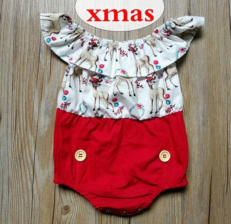 48e6f961acce 0-2Y Infant Girls Xmas Romper Baby Sweet Summer Shprt Sleeve ...
