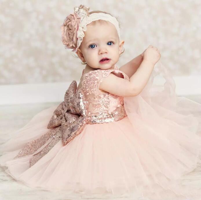 Детские младенческой малыша крестины платья розовое золото блестки колен пачка девушки цветка платья с большим бантом симпатичные день рождения платья 2017