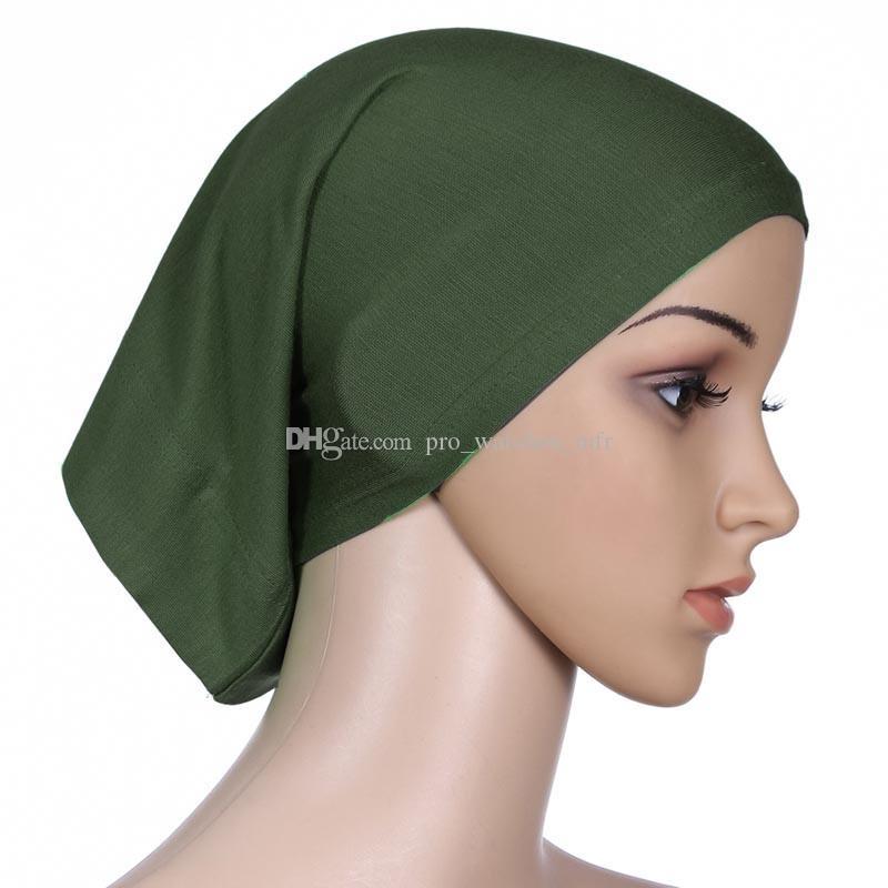 Nueva islámica musulmana de la mujer bufanda de la cabeza mercerizado cubierta de sombrerería de algodón sombrerería gorro llano gorros hijabs interior p0038
