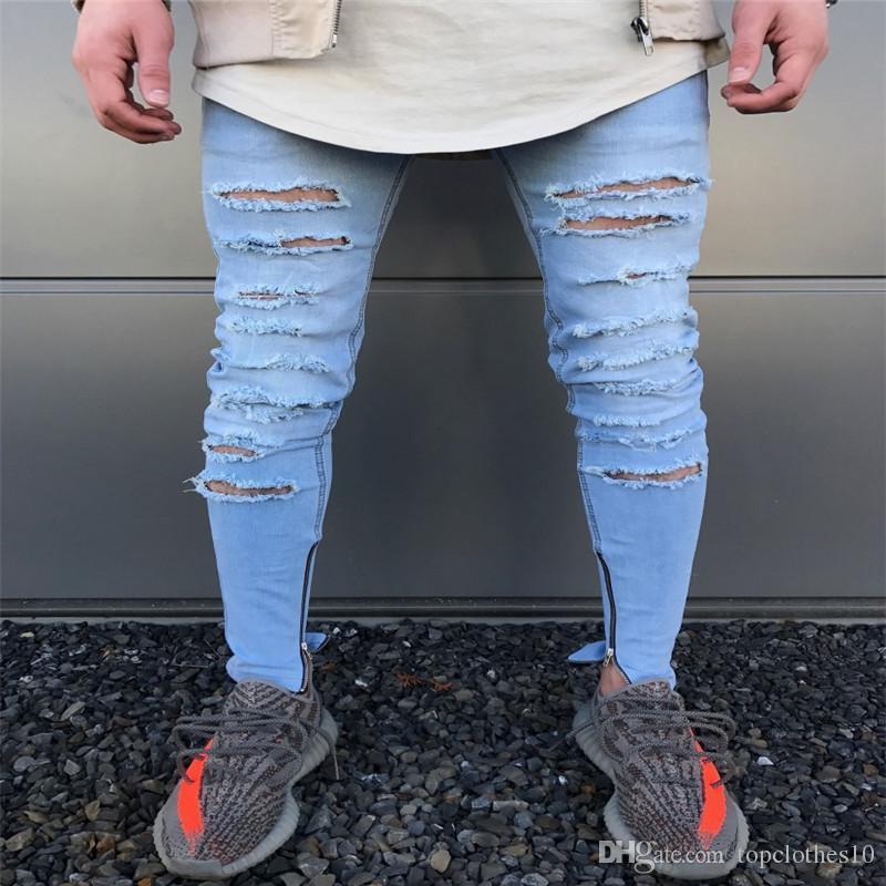 Großhandel Slim Fit Hose Blau Destroyed Mens Slim Denim Gerade Biker Skinny  Jeans Lässige Lange Männer Zerrissene Jeans Mans Gebrochene Jeans Größe 28  36 ... c6a04607a4