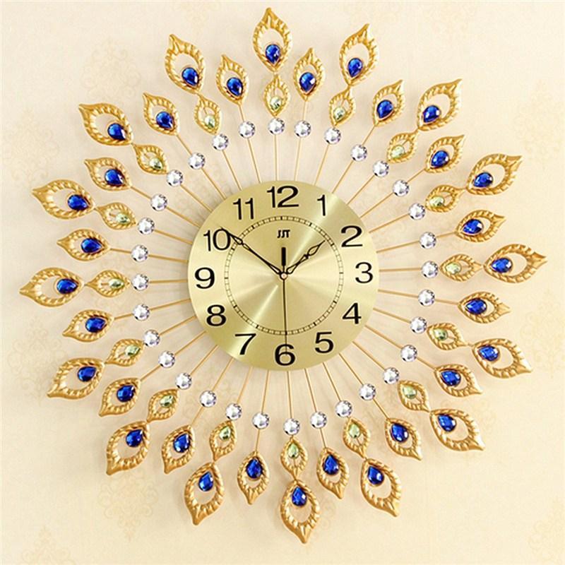 Charminer New Peacock Diamond Iron Art Wall Clock Living Room Watch Home Decor Wedding International Clocks From Bowstring