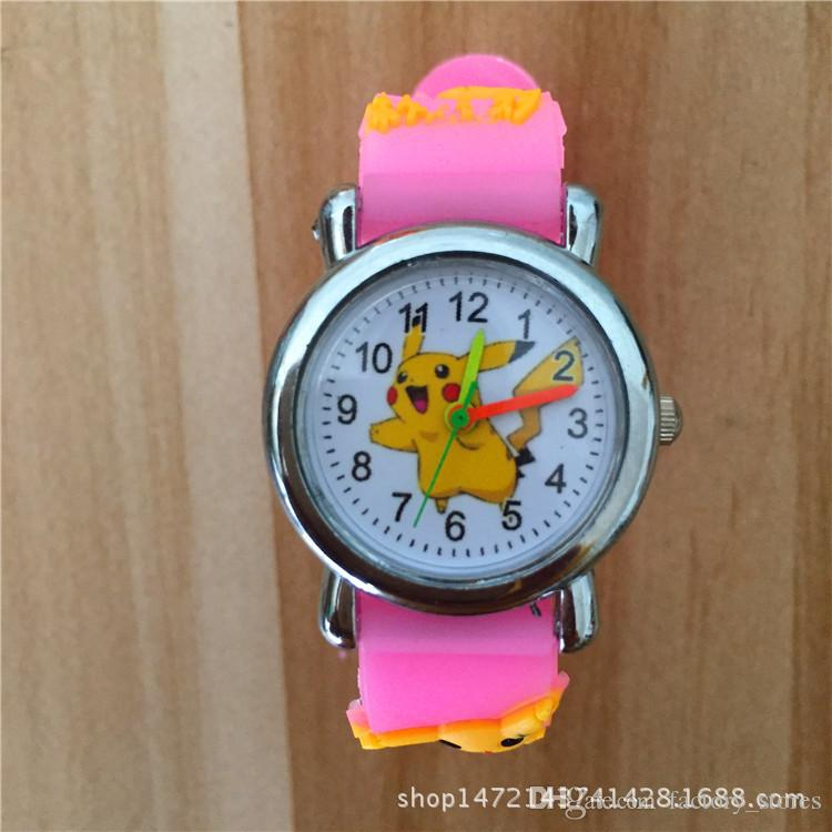 3D Cartoon Poke Go Pikachu Kids Watch Children Students Anime Cute Wristwatch Silicone Band Quartz Wrist Watch Gifts Multicolor